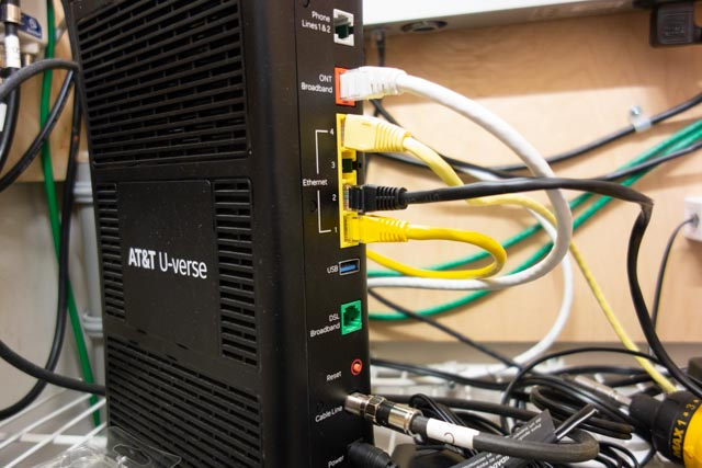 Back of AT&T fiber modem, showing were the patch cable is attached